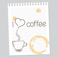 'I love coffee' note with drawn cup and coffee stains