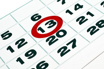 Thirteenth day in calendar detail. Friday the 13th.
