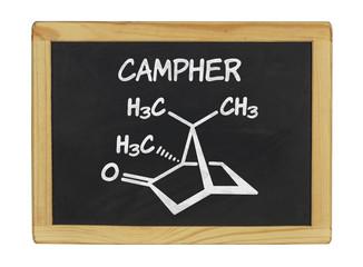chemische Strukturformel von Campher auf einer Schiefertafel
