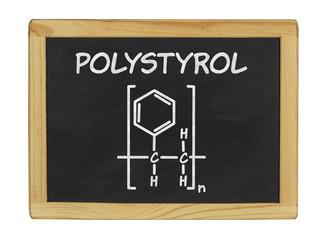 chemische Strukturformel von Polystyrol auf einer Schiefertafel
