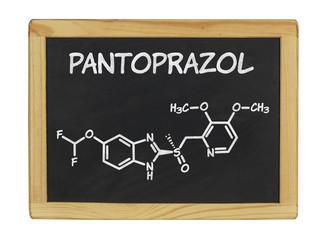 chemische Strukturformel von Pantoprazol auf einer Schiefertafel