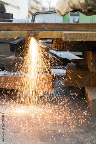 Cutting welding works with gas blow torch