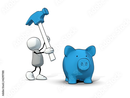 little sketchy man breaking a blue piggy bank with a hammer