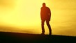 Man Walking Worship Pose Sunset Silhouette Thankful