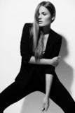 sexy stylish model in black cloth