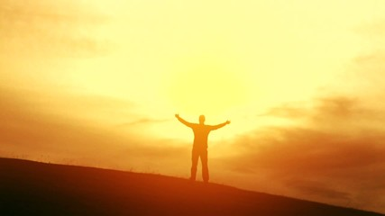 Freedom Nature Summer Man Worship Pose Faith Silhouette Sun