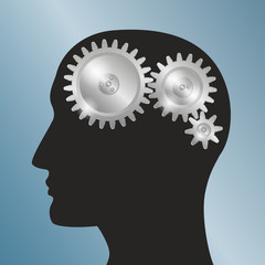 Schematic representation of the human head with gears