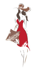 Fashion Woman Sketch. Vector of a Girl on shopping