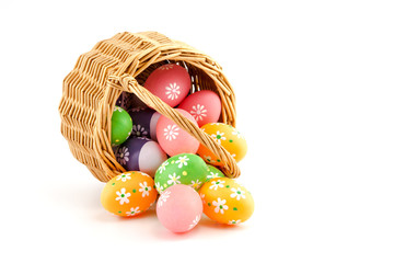 colored Easter eggs in a basket