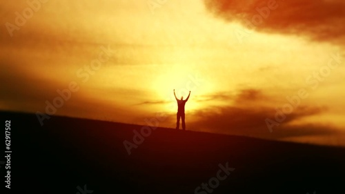 Joy of Success Victory Silhouette Nature Vacation Concept