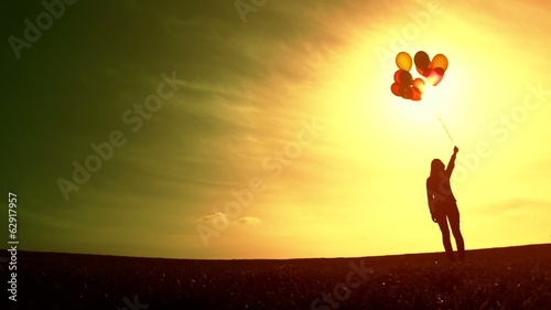 Girl Holding Balloons Summer Sunset Silhouette Pure Joy Concept