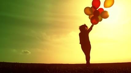 Hopeful Happy Woman Bright Future Concept Silhouette Balloons