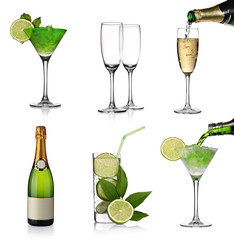 Alcoholic drinks collage with champagne and cocktails