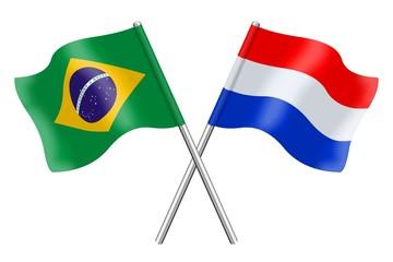 Vlaggen: Brazilië en Nederland