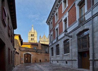 Leon, street view and cathedral.Castilla y Leon.Spain.
