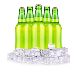 Beer bottles in ice isolated