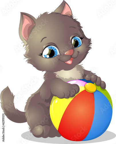 kitten and ball