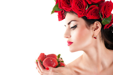 beautiful fashion model with red roses hairstyle