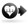 rythme cardiaque sur bouton noir