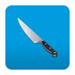 Etiqueta tipo app cuadrada azul cuchillo de cocina