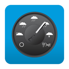 Etiqueta tipo app cuadrada azul barometro