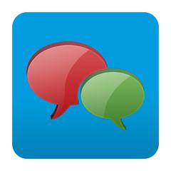 Etiqueta tipo app cuadrada azul red social
