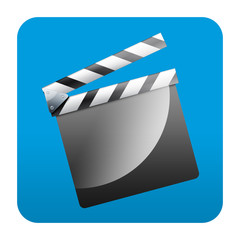 Etiqueta tipo app cuadrada azul claqueta
