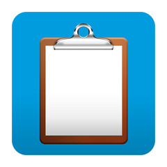 Etiqueta tipo app cuadrada azul clipboard