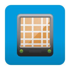 Etiqueta tipo app cuadrada azul GPS