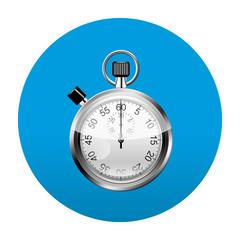 Etiqueta tipo app redonda azul cronometro