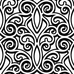 Black and white swirly seamless pattern
