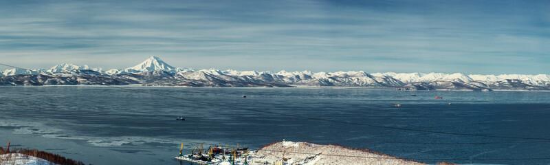 Panorama of Vilyuchinsky volcano and Avacha bay. Kamchatka