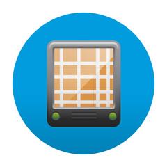 Etiqueta tipo app redonda azul GPS