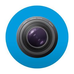 Etiqueta tipo app redonda azul lente