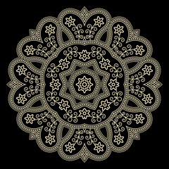 Gold lace doily on black, round crochet ornament