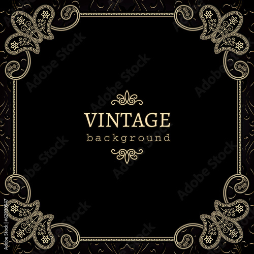 Vintage gold background, square ornamental frame