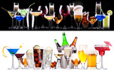 Fototapety different alcohol drinks set