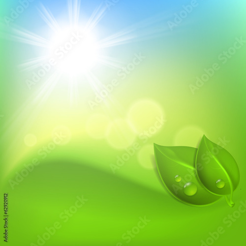 Background with green leaf and a drop of dew