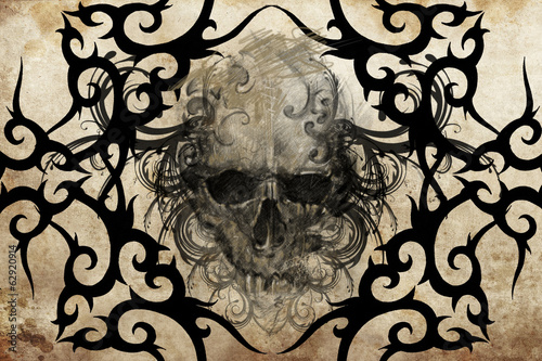 Skull. Tattoo design over grey background. textured backdrop. Ar
