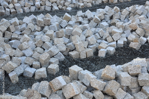 Heaps of cobblestones, pavement construction