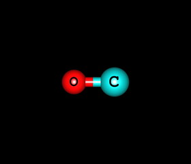 Carbon monoxide molecular structure isolated on black