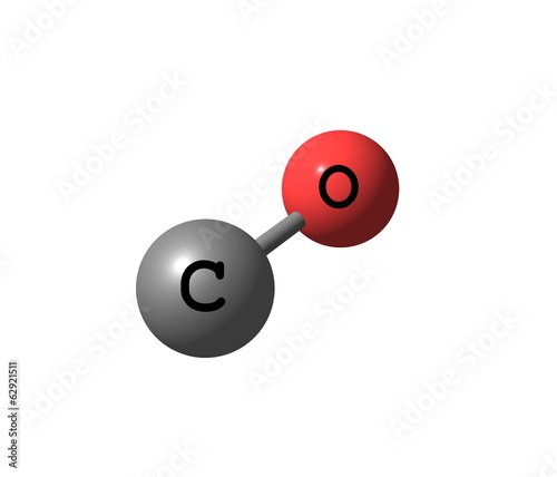 Carbon monoxide molecular structure isolated on white