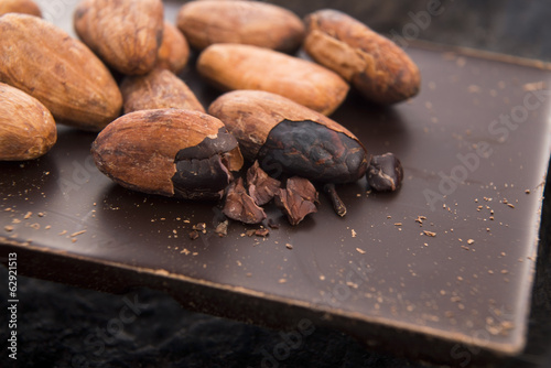 Cacao beans with milk chocolate