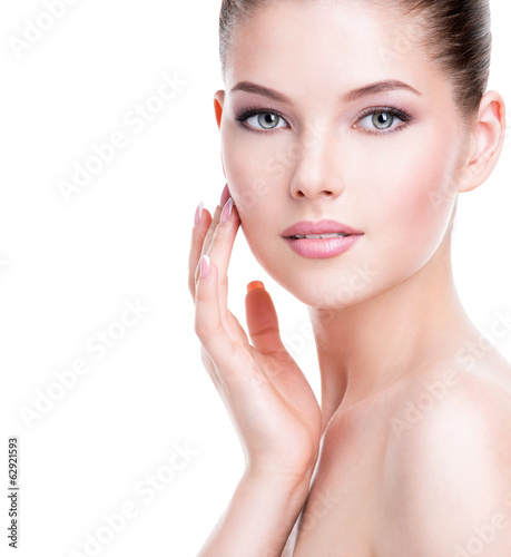 canvas print picture Beautiful young woman with fresh clean skin.