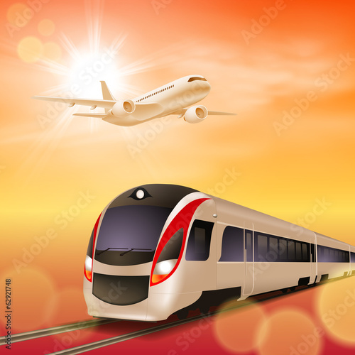 High-speed train and airplane in the sky. Sunset time.