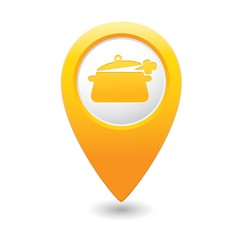 Map pointer with dining room icon