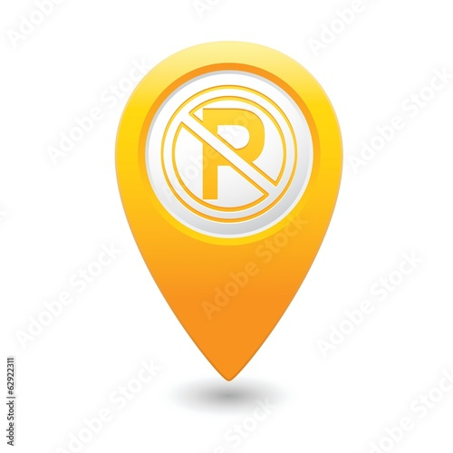 No parking sign on map pointer