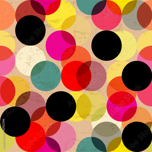 Cotton fabric seamless polka dots, retro/vintage style, vector