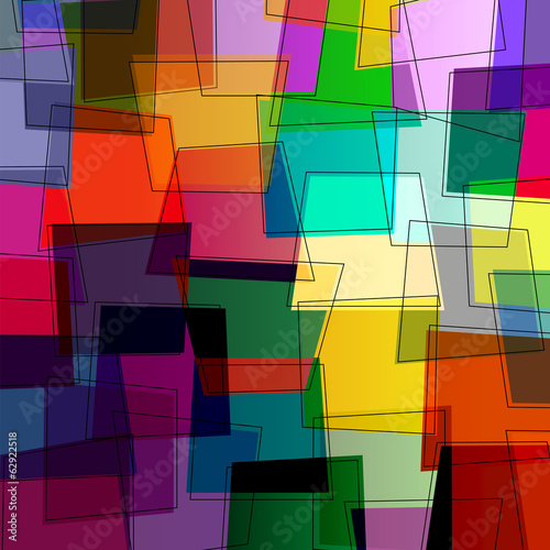 abstract colorful composition, trapeze and lines, vector