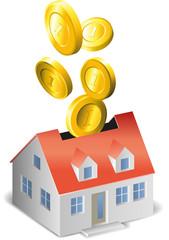 Haus mit Münzen als Spardose